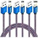 3-Pk. SPEATE 3ft,6ft,10ft Nylon Braided Lightning USB Cable