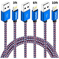 3-Pk. SPEATE 3ft,6ft,10ft Nylon Braided Lightning USB Cable