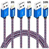 iPhone Charger, Lightning Charger Cables 3FT 6FT 10FT iPhone Charger Cable Syncing USB Cord Compatible for iPhone X/8/8Plus/7/7Plus/6/6Plus/6s/6sPlus/5/5s/5c/SE/iPad/iPod (Blue+White+Red)