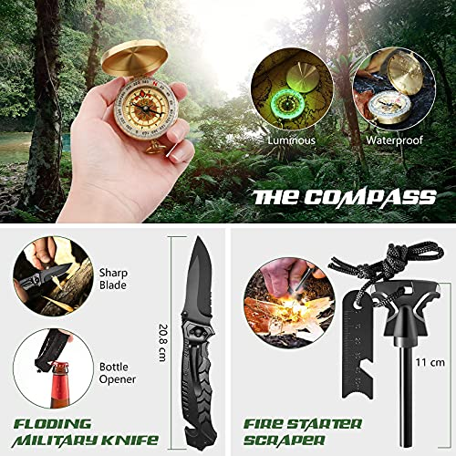 Oismys 18-in-1 Outdoor Adventure Equipment Travel Hiking Biking Camping Hunting Climbing Survival Gear Tool Kits Set