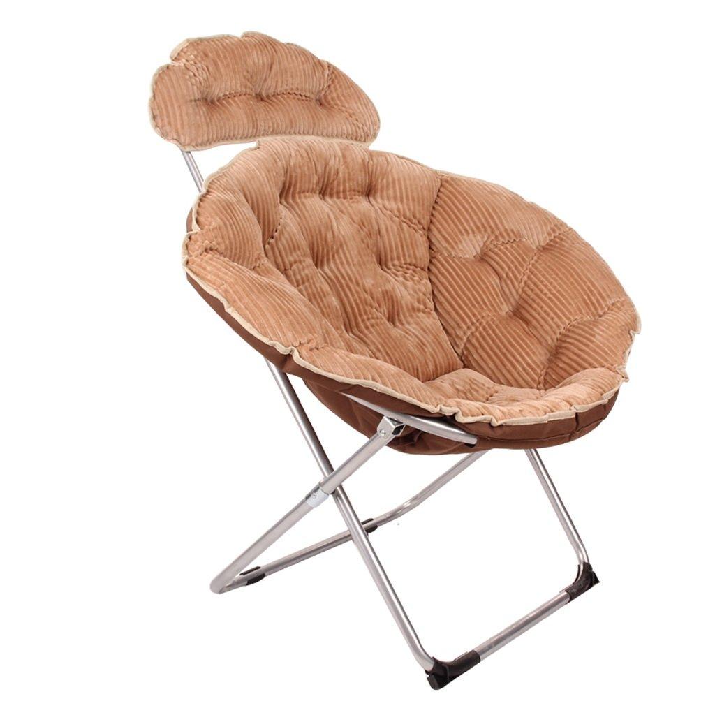 大人のムーンチェア、折りたたみチェア、怠惰な椅子、アームチェア、ソファーチェア、サンラウンジャー、キャンバスコーデュロイ。 (Color : Khaki) B07D6HNFHZ Khaki Khaki