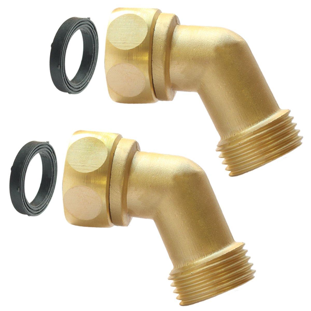 PLG Garden Hose Elbow Connector,45 Degree Hose Extender,Solid Brass Adapter