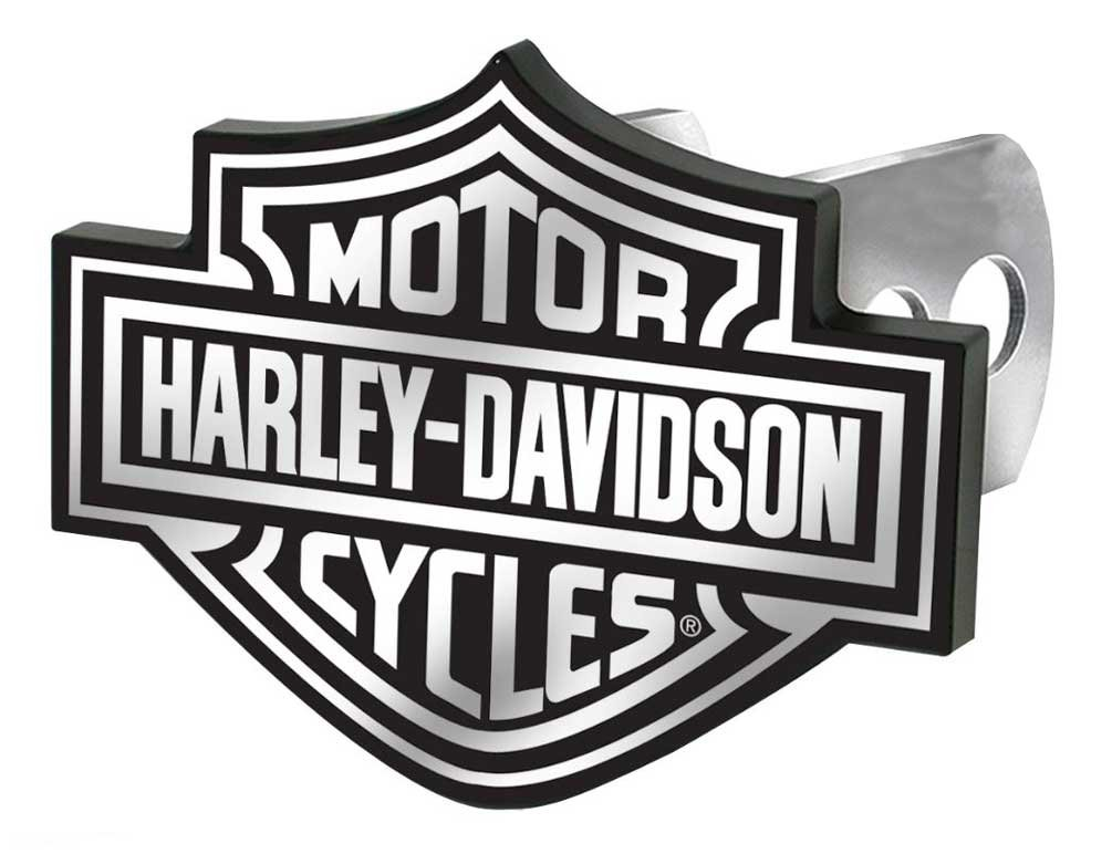 License Plate Shop Harley-Davidson Auto Hitch Plug Black & White Bar Shield -2287 by Plasticolor by License Plate Shop