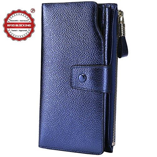 Itslife Women's RFID Blocking Large Capacity Luxury Wax Genuine Leather Clutch Wallet Card Holder Organizer Ladies Purse (3-Lichee Blue Gold)