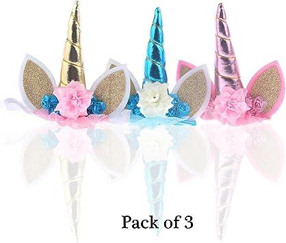 Nicute diademas de unicornio con diseño de cuerno y orejas de flor ...