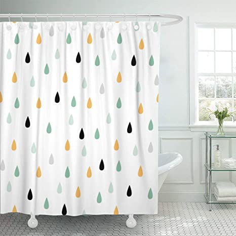 Abaysto Rain Drops Cute Pattern In Mint Yellow Gray Bathroom Decor Shower Curtain Sets With Hooks Polyester Fabric Great Gift Home Kitchen