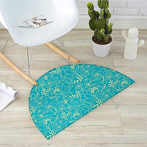 "Yellow and Blue Half Round Door mats Classic Floral Twig Leaves Blooms Petals Essence Flowers Design Bathroom Mat H 39.3"" xD 59"" Turquoise Pale Yellow"
