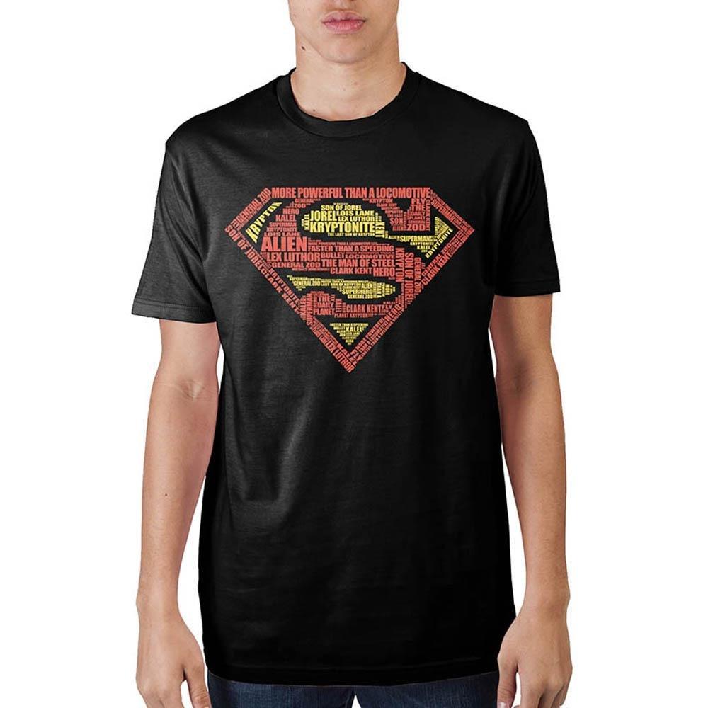 10ceebad1 Amazon.com: Bioworld Superman Text Logo Mens' Black T-Shirt: Clothing