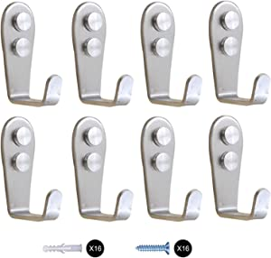 Wall Hooks 8 Pcs,Coat Hooks, Stainless Steel Hook, Garage, Luggage Key Hook, Bathroom Kitchen Dining Room,Heavy Duty, Indoor and Outdoor Hooks (Silver)