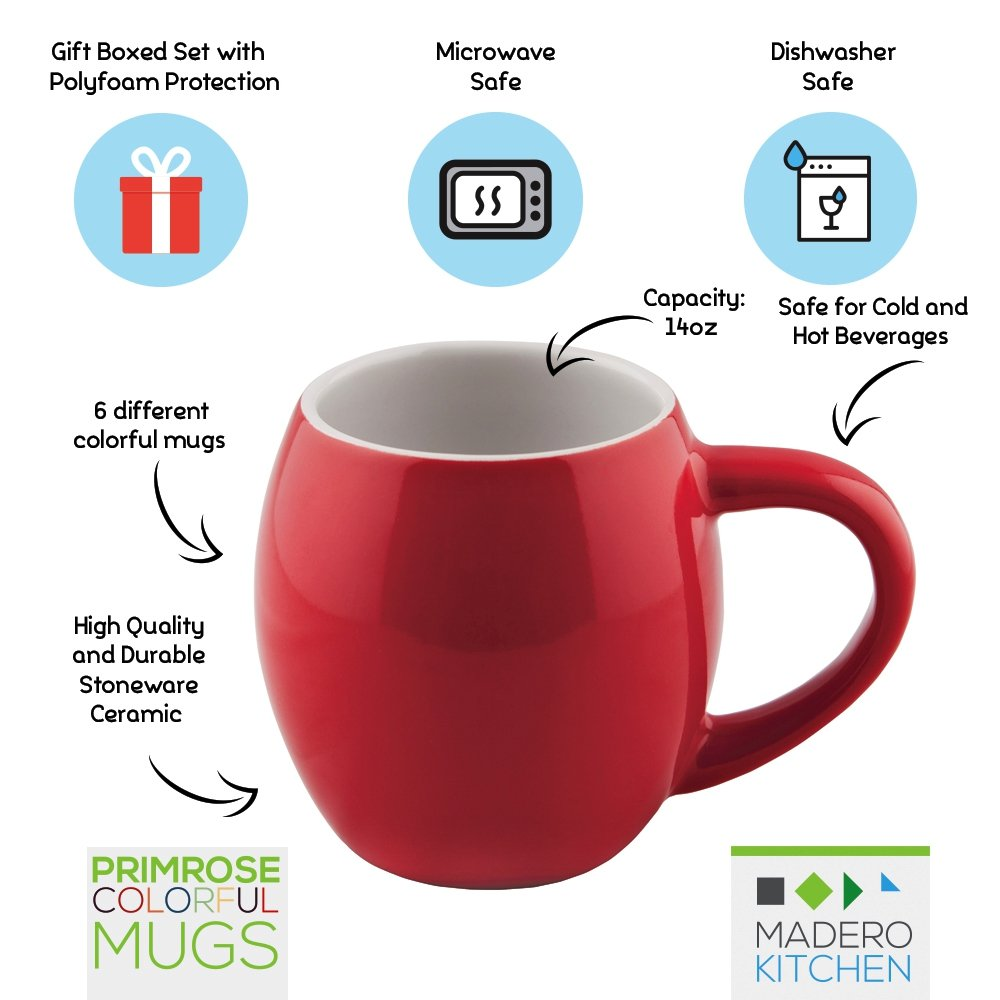 amazoncom primrose colorful mugs by madero kitchen set of 6 ceramic coffee mugs small mouth 14oz for women and men 100 secure packaging keep liquid - Colorful Mugs