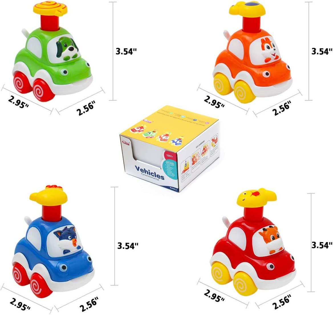 Pull Back Cars for Kids Toddler Toys Vehicles Set of 4 Push Go Friction Powered Car Preschool Gifts Boys /& Girls