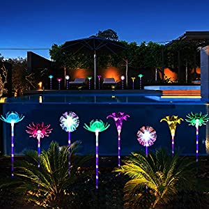 YUNLIGHTS 4pcs Solar Garden Lights Outdoor Garden Stake Lights Multi-color Changing LED Solar Lights with Purple LED Light Stake for Garden Patio Backyard Decoration (Lotus,Dandelion,Lily,Sunflower)