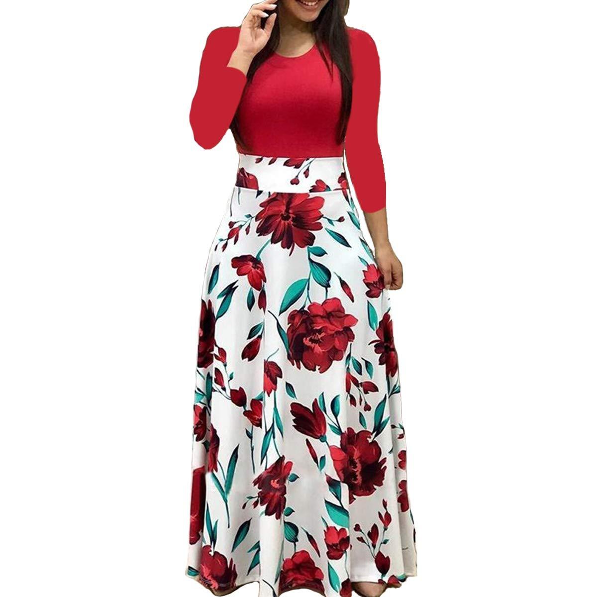 ONine Women's Maxi Dress O-Neck Long Sleeve Floral Printed Casual Swing Long Maxi Dress