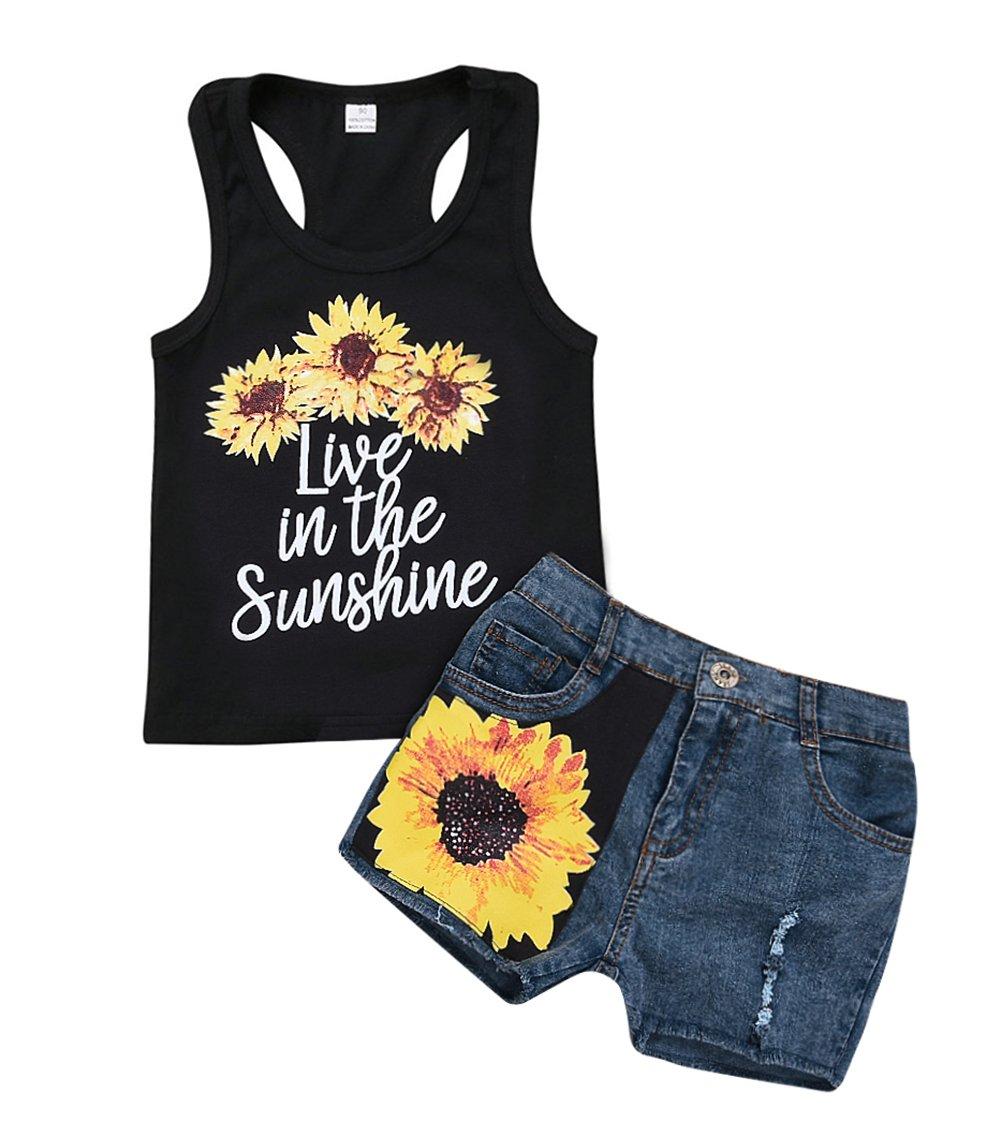 SWNONE 2Pcs/Set Fashion Toddler Baby Girl Sleeveless T-Shirt Top+Floral Denim Shorts Outfits Summer Clothes Set (Denim+Black, 5-6 T)