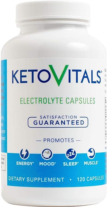 Keto Vitals Electrolyte Capsules | The Original Keto Electrolyte Supplement | Electrolyte Tablets | Eliminate Fatigue and Leg Cramps | Sodium, Potassium, Magnesium & Calcium | Zero Calorie | Zero Carb