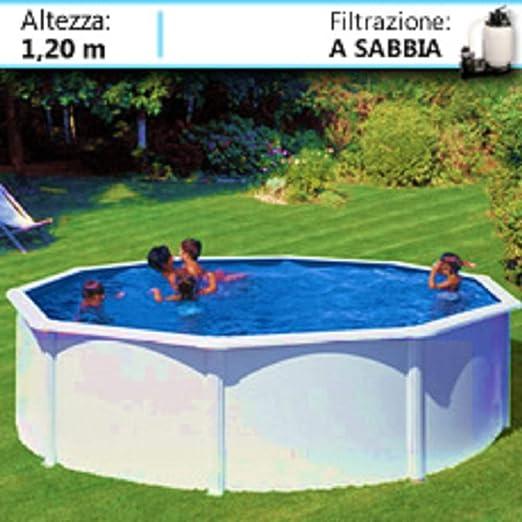 PISCINE ITALIA Fidji KIT460ECO - Piscina de Acero Redonda, 460 x 1 ...