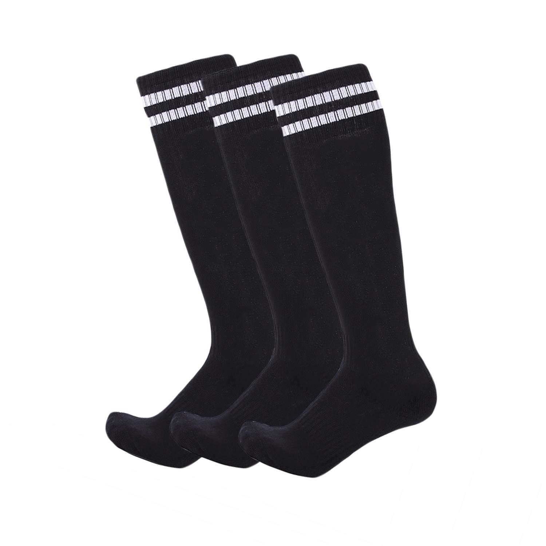 3 Pairs Boys Girls Soccer Socks Towel Cushioning Compression Sport Socks Cotton Team Socks for Children & Kids & Teenagers Black Strips by EBlife