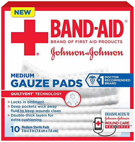 Band-Aid Brand Medium Gauze Pads, 3 Inches by 3 Inches, 10 Count (Pack of 6)