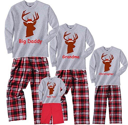 Personalized Christmas Buck Grey Pajama Set - Adult XX-Large, L/S, CRB Plaid Pants (952)]()