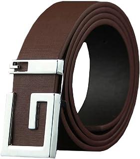 Elibone belt men luxury leather Luxury Leather Belts for Men Strap Male Metal Smooth Girdle Buckle Waistband Blue 100 to 135cm