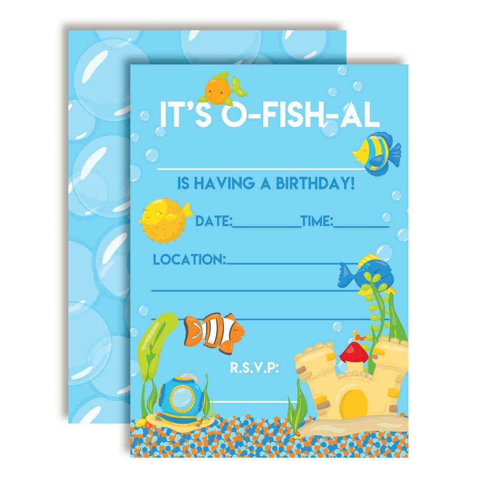 Aquarium Full of Fish Birthday Party Invitations 20 5x7 Fill in Cards with Twenty White Envelopes by AmandaCreation