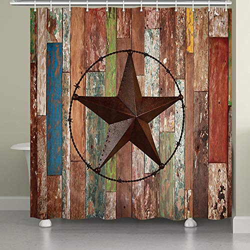 - JAWO Rustic Wood Door with Southwestern Texas Star Shower Curtain Garage Barn Farmhouse Room Decor Bath Curtains(72x72 inches, Shower Curtain)