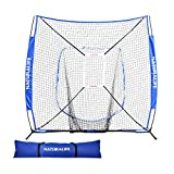 Naturalife 7x7ft Baseball and Softball Practice Net with Strike Zone Target for Practice Hitting, Pitching, Batting and Catching (Blue)