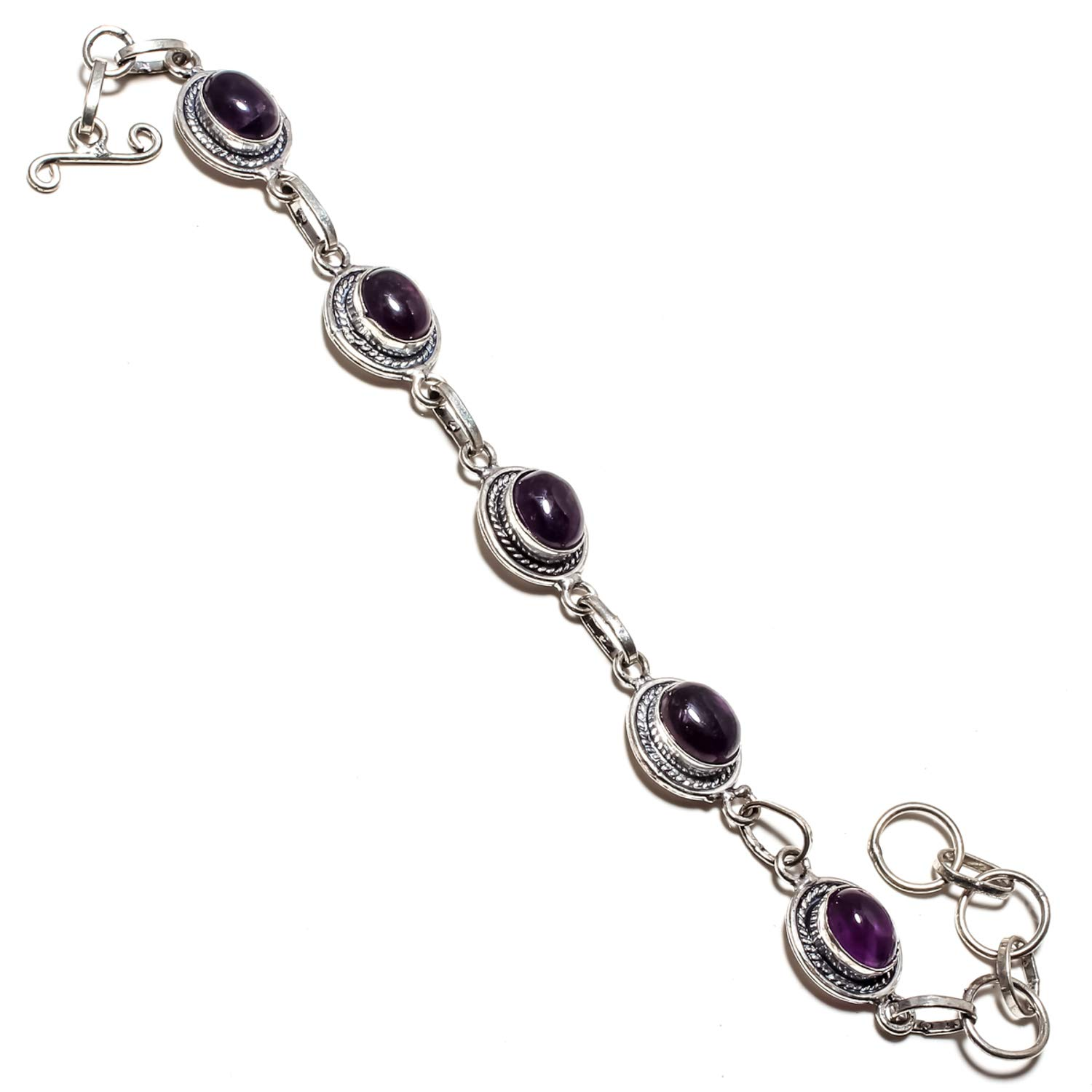 SF-1252 Gorgeous Amethyst Sage Gemstone Bracelet Handmade 925 Sterling Silver Plated Jewelry Adjustable and Flexible Length-Link Chain Bracelet