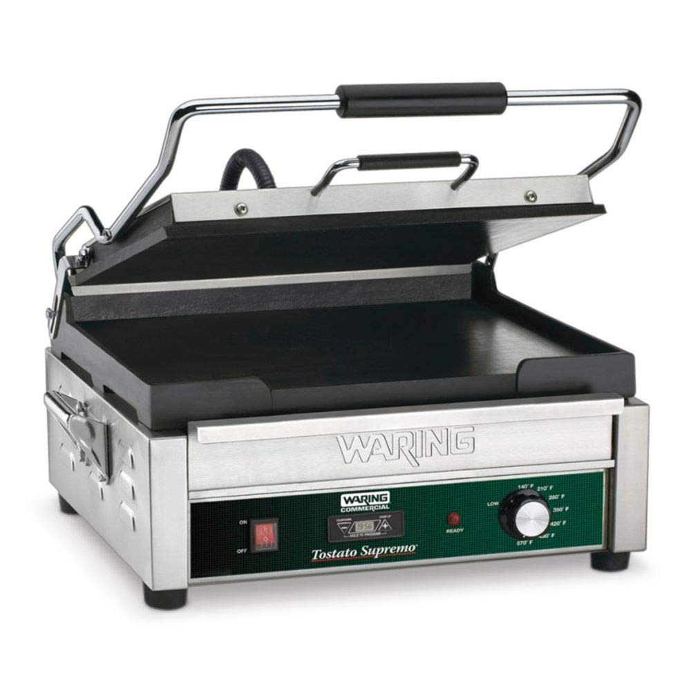 Waring Commercial WFG275T Grooved Flat Grill with Timer, 120-volt, 14-Inch by 14-Inch