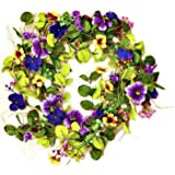 Worth Imports 22 Inch Mixed Pansy Wreath, Purple