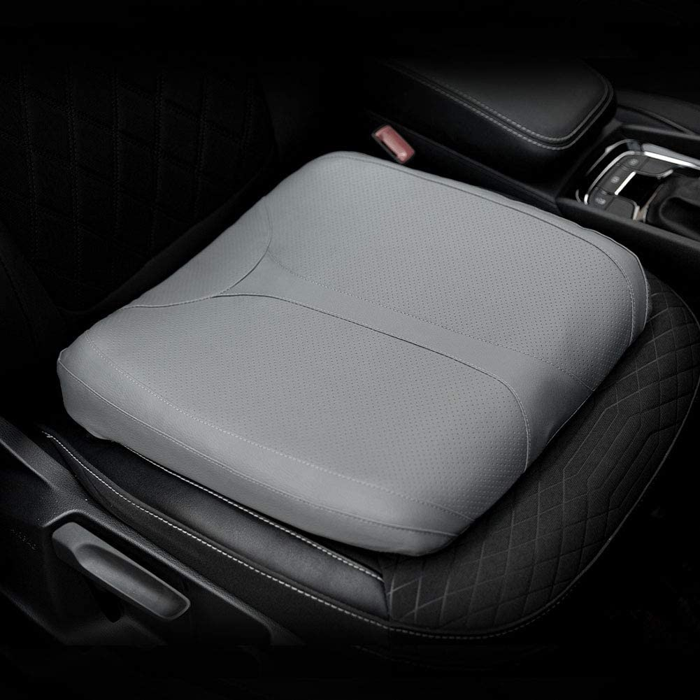 QYILAY Leather Car Memory Foam Heightening Seat Cushion for Short People Driving,Hip(Coccyx/Tailbone) and Lower Back Pain Relief Butt Pillows,for Truck,SUV,Office Chair,Wheelchair,etc. (Gray
