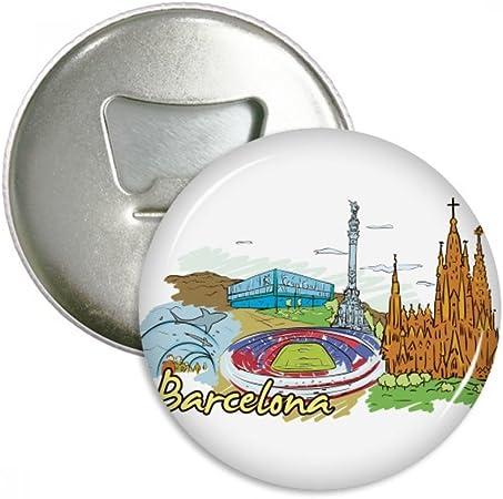 España Barcelona monumento Watercolor redondo abridor de botellas nevera Imán Pins Badge botón regalo 3pcs: Amazon.es: Hogar