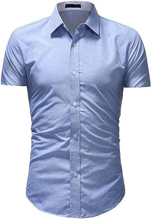 NSSY Camisa de Hombre Hombres de la Marca Camisa Slim Fit Regular Playa Verano Tallas Grandes Camisa de Manga Corta Tops Ropa Rockabilly gótico Sólido Hawaiano, L: Amazon.es: Hogar