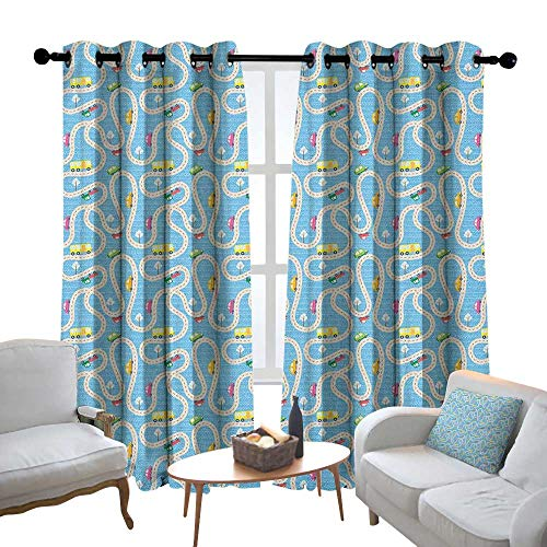 """Price comparison product image Curtains Kids Activity, Cartoon Style Road with a Variety of Vehicles Buses Cars and Trucks Driving,  Multicolor, Treatments Thermal Insulated Light Blocking Drapes Back for Bedroom 54""""x84"""""""
