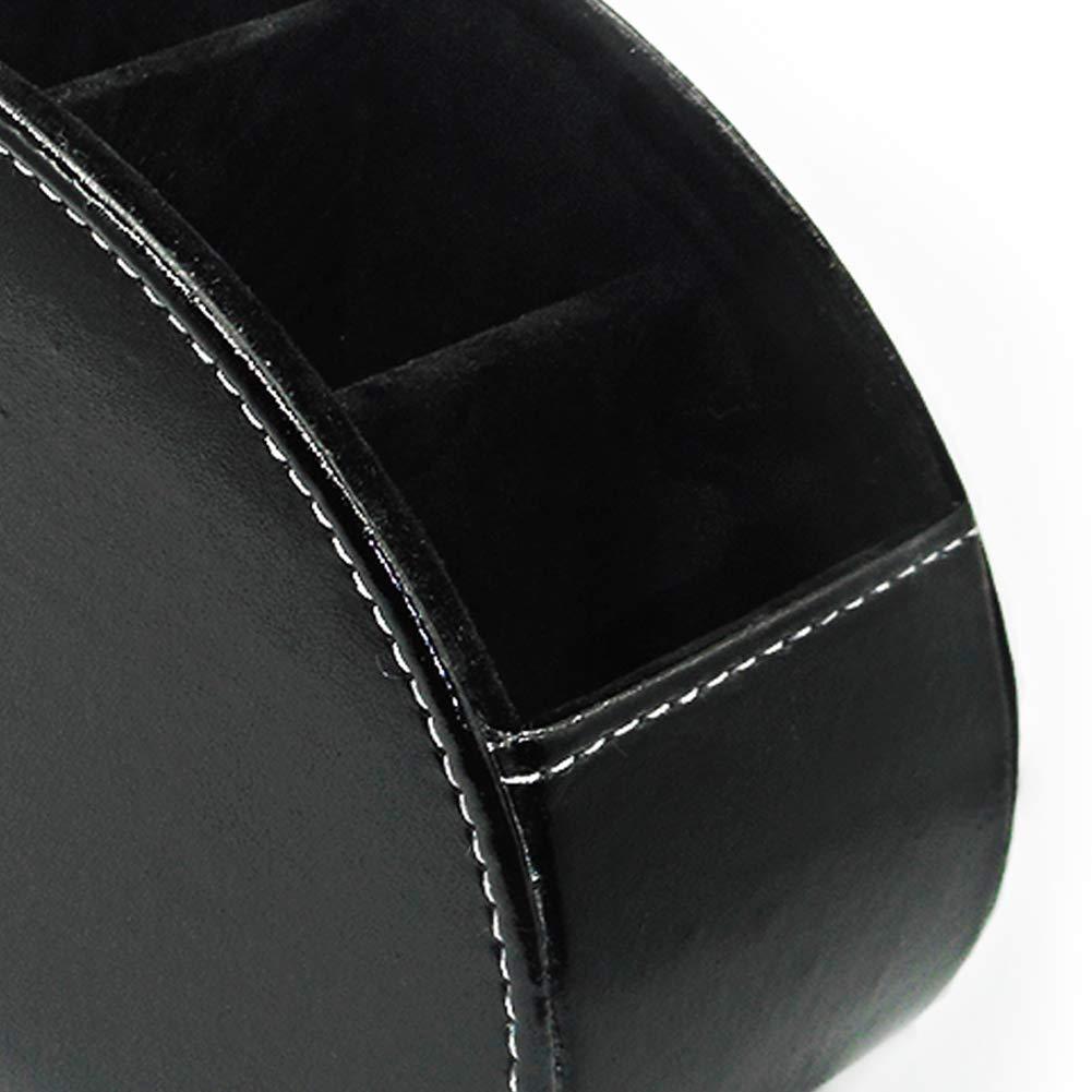 Soporte de Control Remoto PU Cuero 360 Grados Giratorio Organizador de Escritorio TV Pluma l/ápiz Almacenamiento Caddy con 5 Compartimentos para Sala de Estar y Oficina