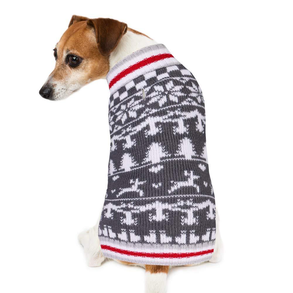 PETBABA Maglione Natale Cane, Maglieria Felpe Morbido Cani Inverno, Maglia Cappotto Caldo Renna in Vacanza Grigio