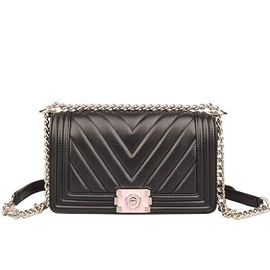 cc2c904bf629 Ainifeel Women s Genuine Leather Quilted Chain Strap Shoulder Handbag Hobo  Bag Purse (Medium