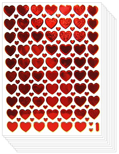 Valentine's day Glittery Heart Stickers Crafts Card (10 sheets, Red)
