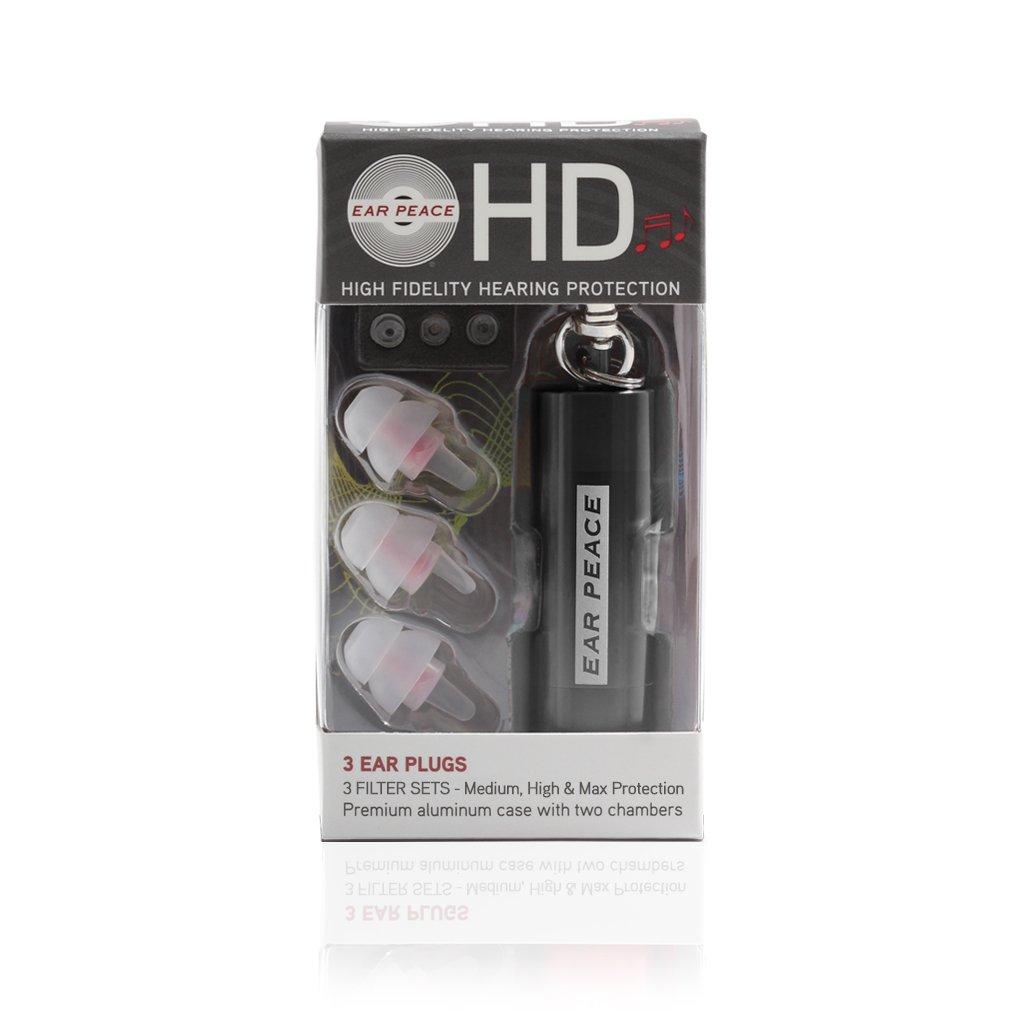 EarPeace HD Concert Ear Plugs - High Fidelity Hearing Protection for Music Festivals, DJs & Musicians (Clear Ear Plugs, Black Case)
