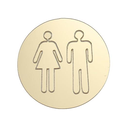 OUNONA Cartel para Baño Aseo WC Espejo 3D de Acrílico para Público Bar Escuela (Dorado)