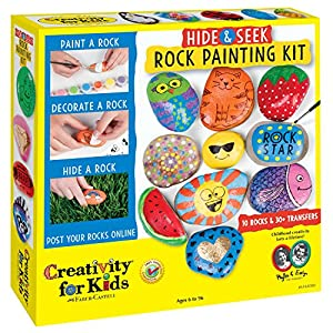 Creativity for Kids Hide Seek Rock Painting Kit - Customize 10 Rocks