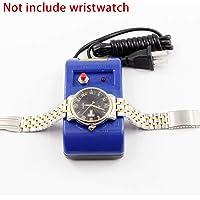 Reparación reloj mecánico desmagnetizador azul pinzas herramientas destornillador