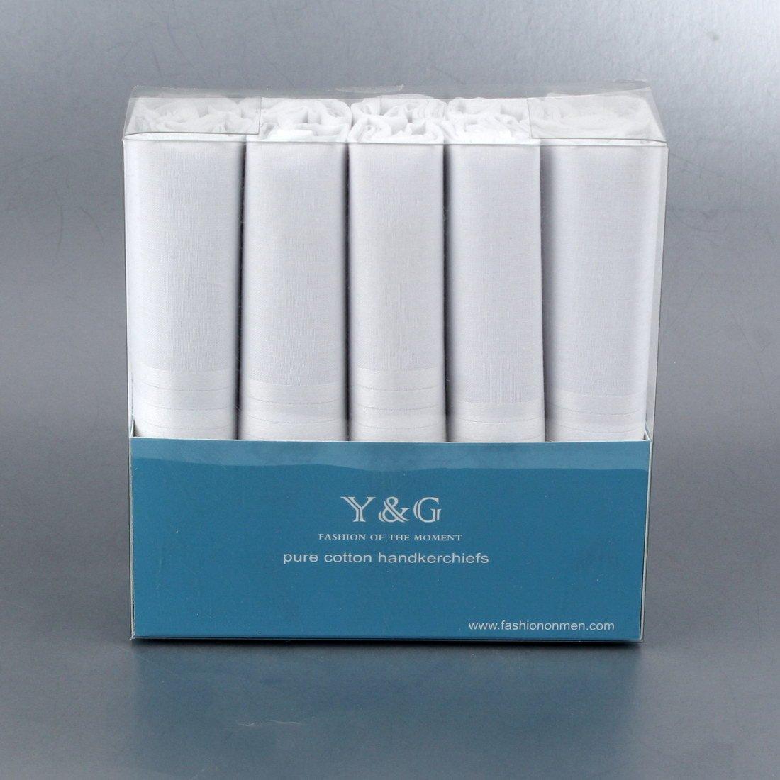 Y/&G Mens Fashion Designer Gift for Mens 10 Pack Handkerchiefs Set School Husband