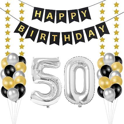 50 Geburtstag Dekoration Set Deko Geburtstag 50 Geburtstagsdeko Zahlen 50 Jahre Luftballons Silber Folienluftballon Und 24 Perle Ballons Schwarzes Gold Silber Mit 1 Happy Birthday Banner Küche Haushalt