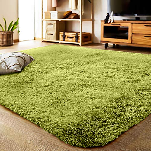 LOCHAS Ultra Soft Indoor Modern Area Rugs Fluffy Living Room Carpets Suitable for Children Bedroom Home Decor Nursery Rugs Rug 4 Feet by 5.3 Feet (Green) (Rug Green Small)