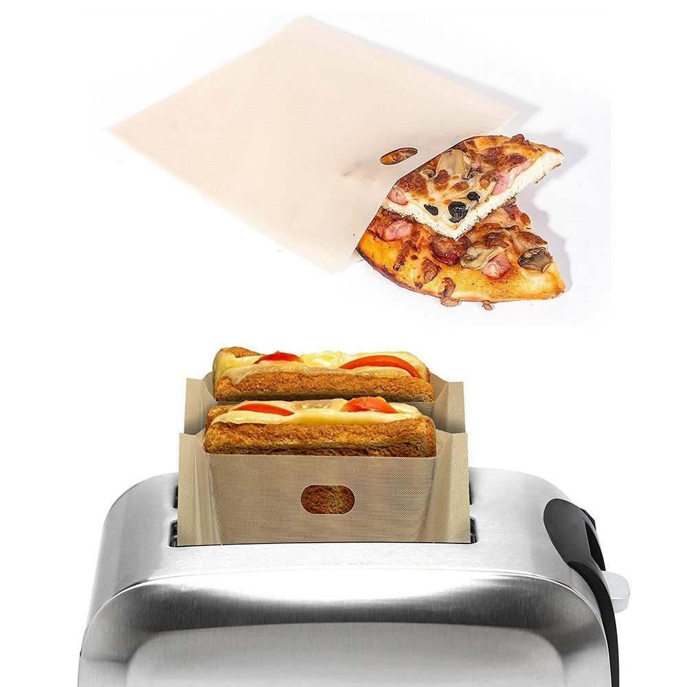 LOHOME Toaster Bags - Pack of 20 Non-stick Reusable Toaster Bread Bags Heating Food Bags Microwave Heating Pastry Tools For Pizza, Sandwiches, Ham Cheese (6.7 x 7.5 inch)