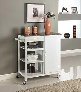 King's Brand White Finish Wood & Marble Finish Top Kitchen Storage Cabinet Cart