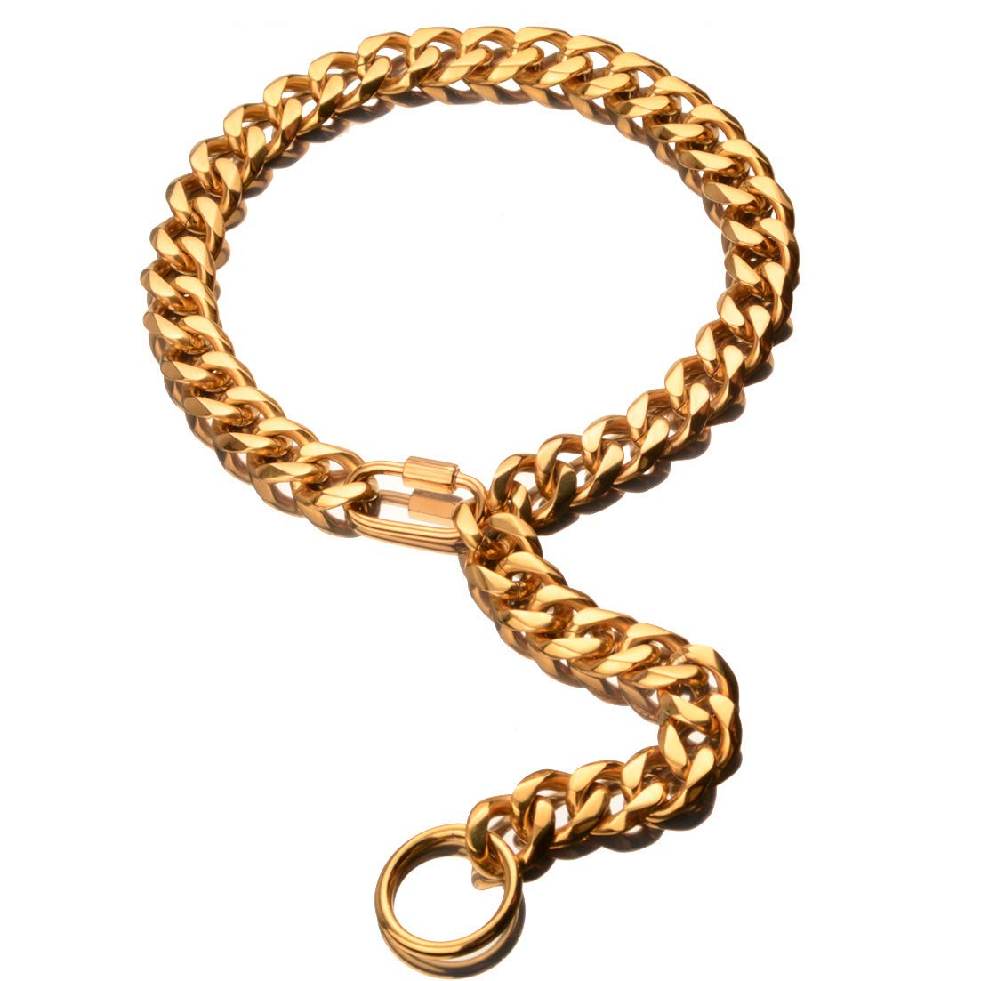 W/W Lifetime Custom Ultra Strong 19MM 18K Gold Plated Slip Chain Dog Collar - for Pit Bull Mastiff Bulldog Big Breeds, Adjustable Carabiner Clasp