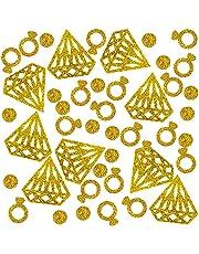 400 Pieces Gold Confetti, DaKuanDiamond ring circle confetti Glitter Confetti Wedding Table Decoration Party Table Confetti Bridal DIY Engagement party Decorations