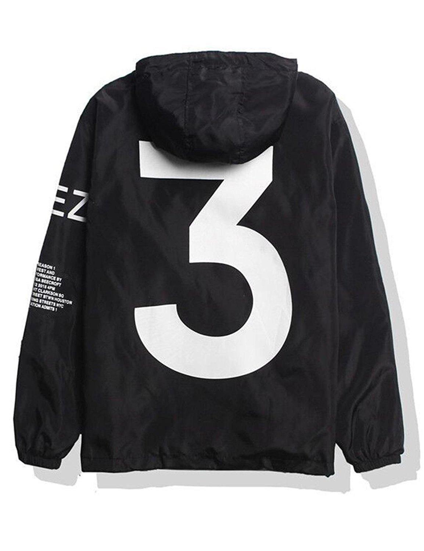 Adult Waterproof Letter Print Jacket Hip-Pop Long Sleeve Anti-Sun Hoodie Streetwear